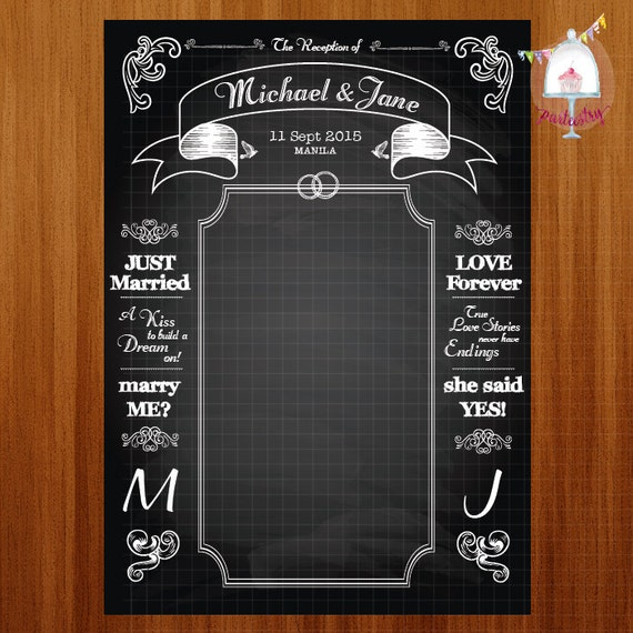 Chalkboard Wedding Backdrop Banner Printable
