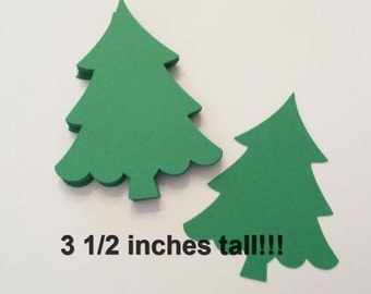 "25 Large (3 1/2"") Christmas Tree Die Cuts, Pine Tree, Evergreen Tree, Winter Weddings, Christmas Tree Placecards"