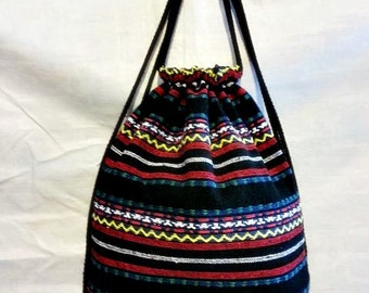 Woven Fabric,Tribal Style,Mix Colour, Draw string backpack.