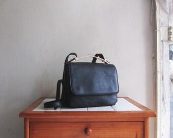 Vintage black leather handbag satchel hobo shoulder cross body bag