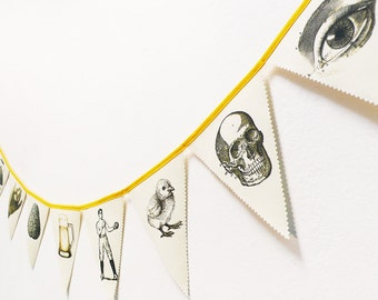 Bunting Vintage Drawings. Banners. Fabric Bunting