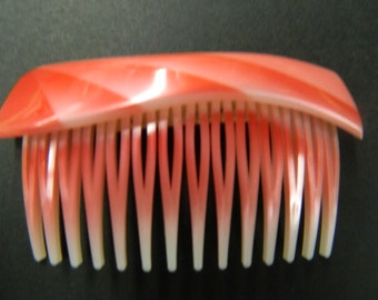 Vintage red side hair comb with lip made in France