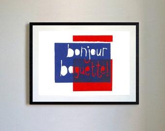 Bonjour Baguette Lino Print.