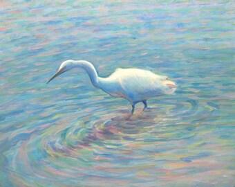 San Francisco Bay, Salt Marsh Egret  Giclée Limited Edition