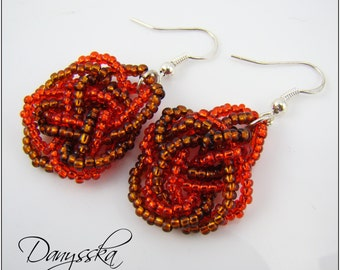 Red and Brown Knot Earrings