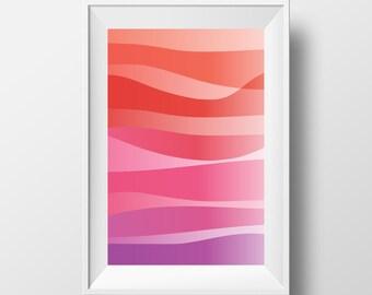 Pink Waves Printable Digital Wall Art, poster download