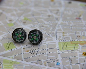 Small Compass Stud Earrings
