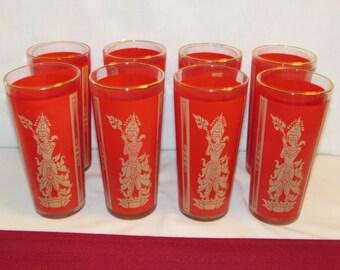 RED ASIAN GLASSES Set of 8 Thai Goddess