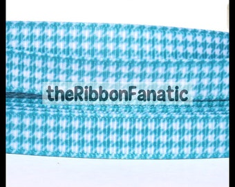 """5 yds 3/8"""" Teal and White Classic Houndstooth Print Printed Grosgrain Ribbon"""