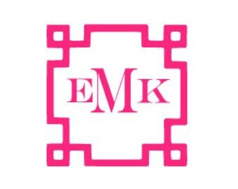 Greek Key Monogram Decal