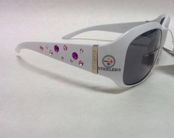 NEW! Women's Pittsburgh Steelers  inspired Rhinestone Sunglasses. Medium to Slim fit! Classic White with Logo's!
