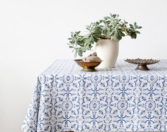 Mosaic Stone Washed Linen Tablecloth