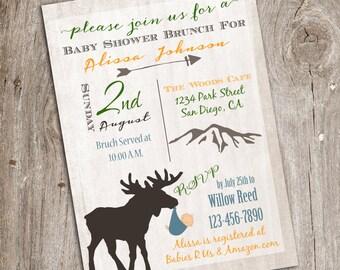 Rustic Mountain Lodge Woodland Animal National Park Baby Shower Invitation,