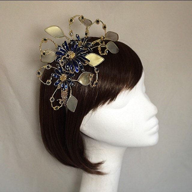 Navy fascinator gold fascinator Gold tiara Navy headdress