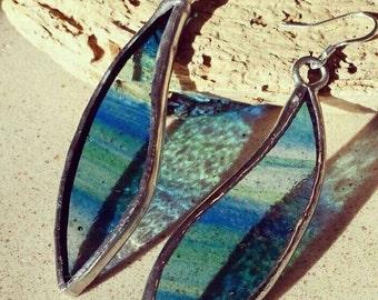 Ocean Stained Glass Earrings