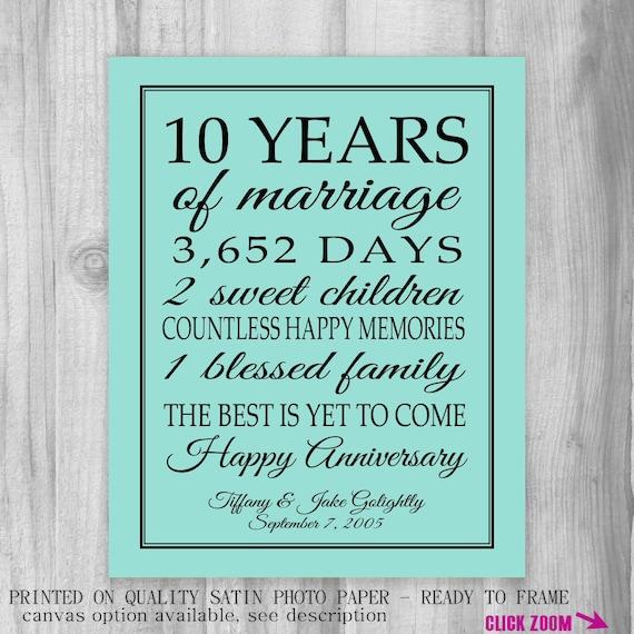 10 Year Wedding Anniversary Gift: Anniversary Gift Print 10 Year Wedding By PrintsbyChristine