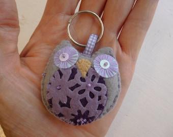 SALE 50% off, Hand made felt owl key ring/ key charm/ bag charm