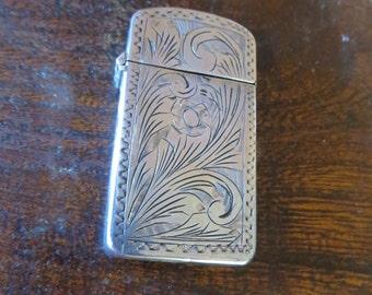 Etched Sterling Silver Antique Match Safe