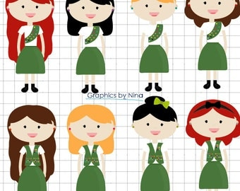 Clip Art Girl Scout Clipart girl scouts clip art etsy instant dowload clipart scrapbook for personal and commercial use