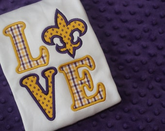 LSU or Saints LOVE Appliqued Shirt or Onesie- Fleur de Lis