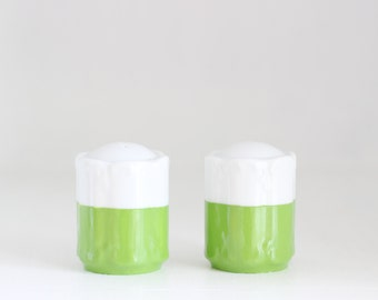 Green and White Salt and Pepper Shakers