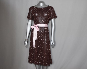 Brown Sheer Dress with Pink Ribbon Sash and Pink Polka Dots