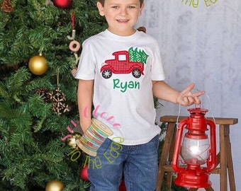 Custom Boys Christmas Retro Truck T-Shirt - Kids Personalized Applique Shirts - Boys Embroidered Holiday Top
