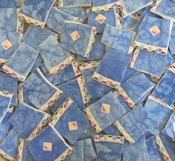 Soft Blue Mosaic Tile Broken China Plates 100 Tiles
