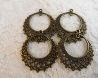 "Vintage gold or silver plate brass stamped filigree hoops,1"",4pcs-ERG17"