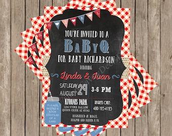 Baby Q Invitation - baby q invite- Family Baby Shower Invitation - Co-Ed Baby Shower Inivtation - BBQ Baby Shower Invitation - DIY Print