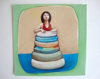"Original  Painting   ""Hello sea"", 15/15 cm (6/6 inch)"