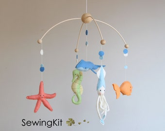 baby mobile nautical, crib mobile, diy wool felt mobile, squid, whale, star fish, fish, sea horse, under the sea mobile