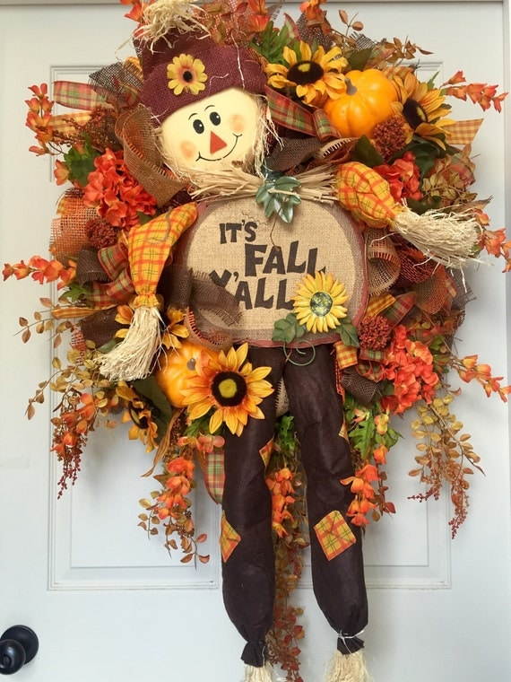 Scarecrow Fall Harvest Mesh Burlap Wreath
