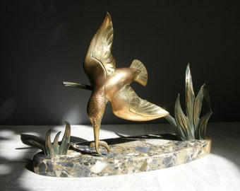 Art Deco French Bronze  Kingfisher Statue,on a marble base.Signed DAUTRIVE.