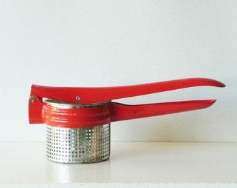 Vintage Potato Ricer Masher - Fruit and Vegetable Press - Red Kitchen Tool - Farmhouse Kitchen Utensil