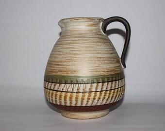 German Dümler & Breiden studio pottery jug vase, brown cream green stripes