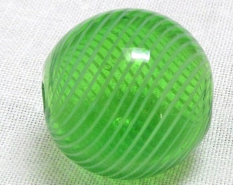Handblown Glass Bead Green Hollow Round With White Stripes