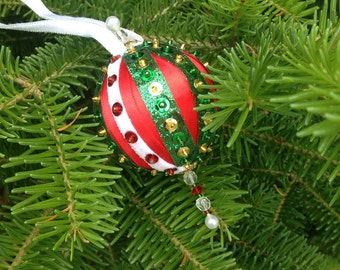 Christmas Ornament Decorated with Ribbons and Beads
