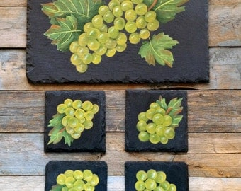 Green Grapes and Wine Themed Coasters, Green Grapes Hand Painted on Slate Coasters and Bottle Tray, Set of Four Coasters and Bottle Tray