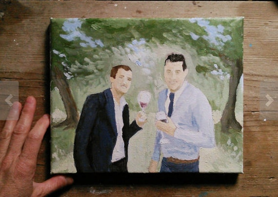 What To Get A Gay Couple For A Wedding Gift: Gay Couple Gift Custom Oil Painting From By BarraganPaintings