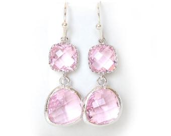 Crystal Pink Earrings Silver Pink Earrings Crystal Blush Earrings Pink bridesmaids earrings Pink Jewelry Pink Double Tier Earrings