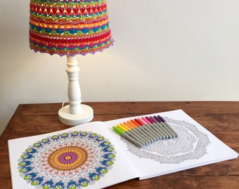Crocheted bedside or desk lamp shade