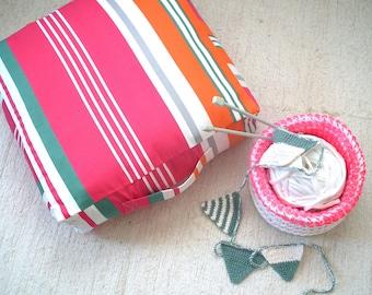 Colorful Stripes Square Floor Cushion Ottoman Pouf- Kids Furniture Bean Bag Chair-Toddler Floor Cushions -Nursery Decor-Meditation Cushion