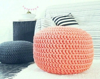 Large Coral Floor Pouf Ottoman, Footstool Pouf, Floor Pillow, Floor Cushion, Crochet Cotton Pouf, Nursery Decor, Kids Furniture, Bean Bag