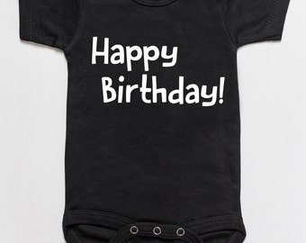 Happy Birthday baby onesie black