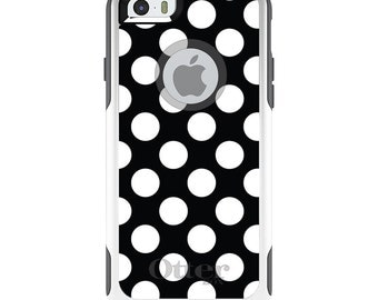 OtterBox Commuter for Apple iPhone 5S SE 5C 6 6S 7 8 PLUS X 10 - Custom Monogram - Any Colors - White & Black Polka Dots