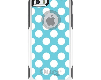 OtterBox Commuter for Apple iPhone 5S SE 5C 6 6S 7 8 PLUS X 10 - Custom Monogram - Any Colors - White & Blue Polka Dots