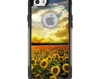 OtterBox Commuter for Apple iPhone 5S SE 5C 6 6S 7 8 PLUS X 10 - Custom Monogram - Any Colors - Green Blue Yellow Sunflowers