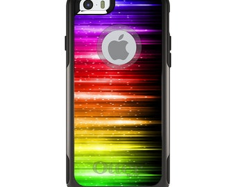 OtterBox Commuter for Apple iPhone 5S SE 5C 6 6S 7 8 PLUS X 10 - Custom Monogram - Any Colors - Rainbow Light Glowing Lines