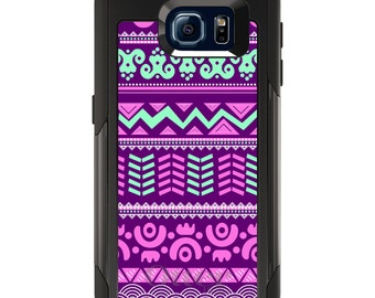 OtterBox Commuter for Galaxy S4 / S5 / S6 / S7 / S8 / S8+ / Note 4 5 8 - CUSTOM Monogram - Any Colors - Pink Green Aztec Tribal